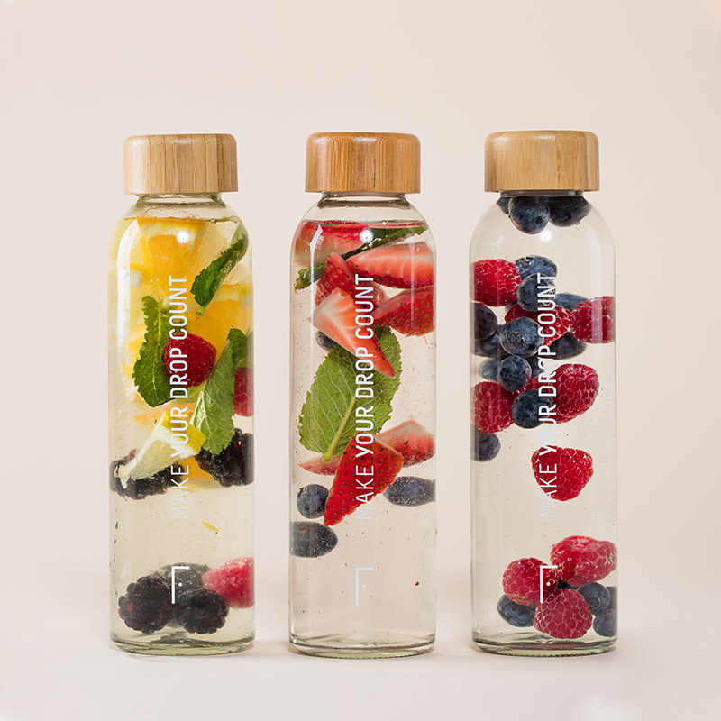 Reusable Glass Water Bottle | Freshly Cosmetics